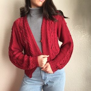 Vintage Popcorn Knit Sweater in Cherry Red